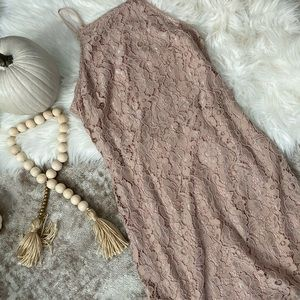 Blush lace mini dress